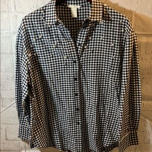 H&M Plaid Faux Pearl Accent Oversized Blouse